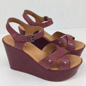 Kork-Ease Jaclyn Wedge Platform Sandals Merlot 8